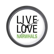 Live Love Narwhals Wall Clock