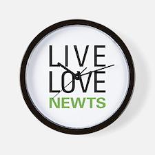 Live Love Newts Wall Clock