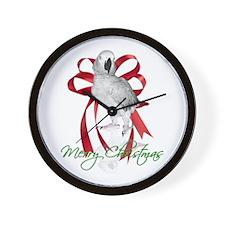 african grey christmas Wall Clock