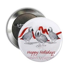 """african grey parrot holiday 2.25"""" Button (10 pack)"""