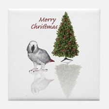 african grey christmas Tile Coaster