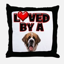 Loved by a St. Bernard Throw Pillow
