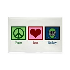 Peace Love Hockey Rectangle Magnet