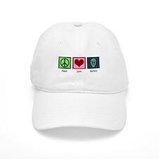 Peace Love Hockey Baseball Cap