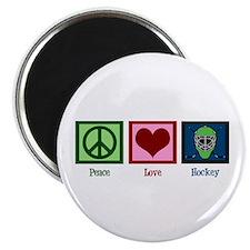 Peace Love Hockey Magnet