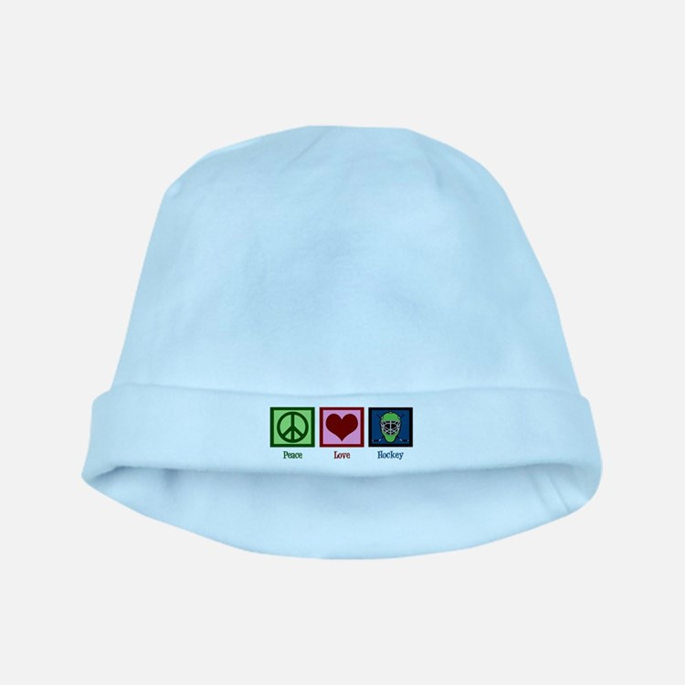 Peace Love Hockey baby hat