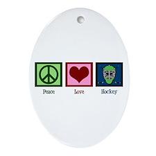 Peace Love Hockey Ornament (Oval)