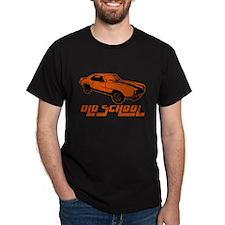 orange Old School Musclecar (block) Black T-Shirt