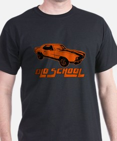 orange Old School Musclecar (block) Black T-Shirt