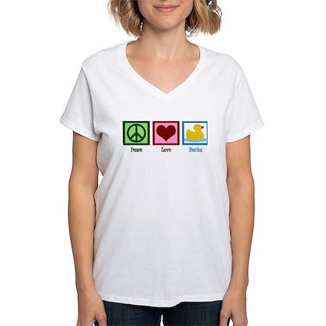 Peace Love Ducks Women's V-Neck T-Shirt