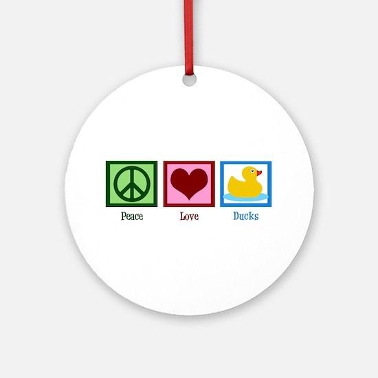 Peace Love Ducks Ornament (Round)