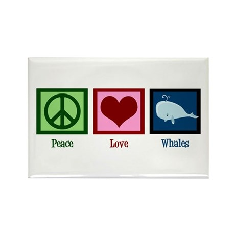 Peace Love Whales Rectangle Magnet
