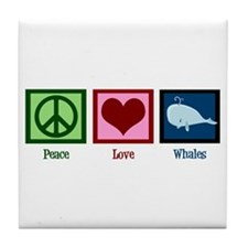 Peace Love Whales Tile Coaster