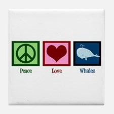 Peace Love Whales Tile Coaster