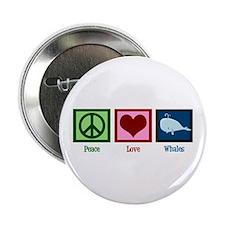 "Peace Love Whales 2.25"" Button"