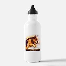 German Shepherd Jumping Water Bottle