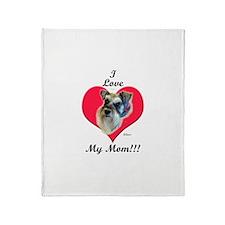 Schnauzer I Love Mom! Throw Blanket