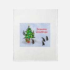 Penguins Christmas Throw Blanket