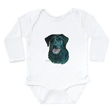 Dakota, the Black Lab Long Sleeve Infant Bodysuit