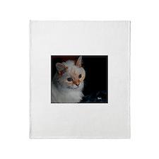 White Longhaired Cat: Kikoe Throw Blanket