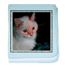 White Longhaired Cat: Kikoe baby blanket