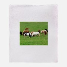 Mini Horses in Pasture Throw Blanket
