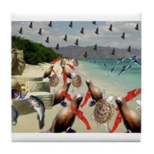 The Lobster Quadrille Tile Coaster