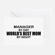 World's Best Mom - MANAGER Greeting Cards (Pk of 1