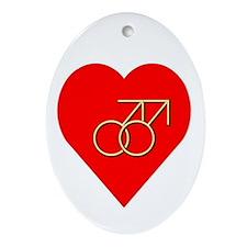 """Double Male Symbol"" Oval Ornament"