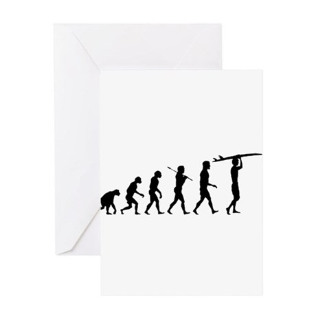 Surfing Evolution Greeting Card