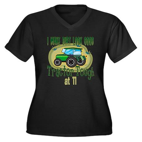 Tractor Tough 11th Women's Plus Size V-Neck Dark T