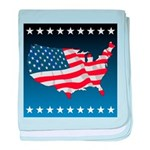 USA Map with Flag and Stars baby blanket