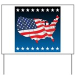USA Map with Flag and Stars Yard Sign