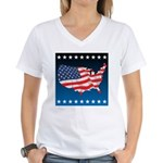 USA Map with Flag and Stars Women's V-Neck T-Shirt