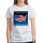 USA Map with Flag and Stars Women's T-Shirt