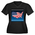 USA Map with Flag and Stars Women's Plus Size V-Ne
