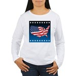 USA Map with Flag and Stars Women's Long Sleeve T-