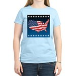 USA Map with Flag and Stars Women's Light T-Shirt