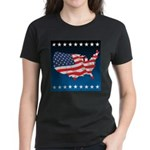 USA Map with Flag and Stars Women's Dark T-Shirt