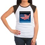 USA Map with Flag and Stars Women's Cap Sleeve T-S