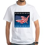 USA Map with Flag and Stars White T-Shirt