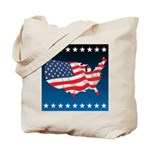 USA Map with Flag and Stars Tote Bag