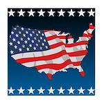 USA Map with Flag and Stars Tile Coaster
