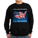 USA Map with Flag and Stars Sweatshirt (dark)