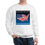 USA Map with Flag and Stars Sweatshirt