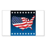 USA Map with Flag and Stars Sticker (Rectangle)