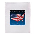 USA Map with Flag and Stars Throw Blanket