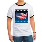 USA Map with Flag and Stars Ringer T