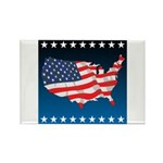 USA Map with Flag and Stars Rectangle Magnet (10 p