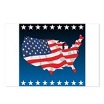 USA Map with Flag and Stars Postcards (Package of